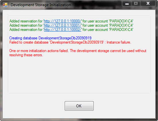 Development Storage Initialization Error