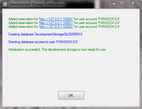 Development Storage Initialization
