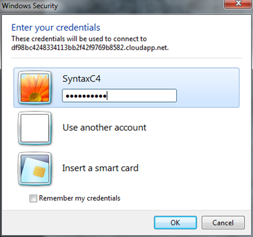 Entering your Credentials to the Windows Azure