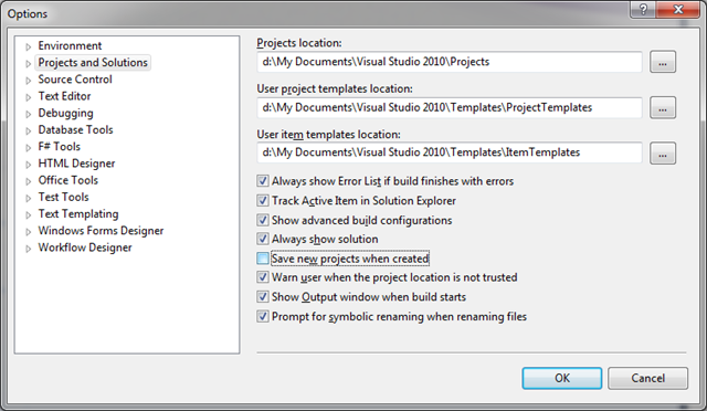 Visual Studio 2010 Options - Disabled Save New Project When Created